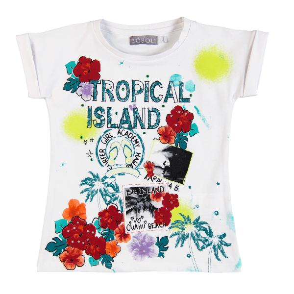 Boboli T-Shirt Tropical Island in weiß