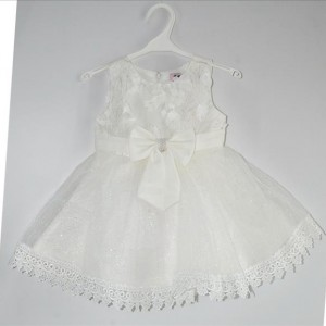 Taufkleid Mädchen Festkleid Blumenmädchen Baby Kleid Tüll Gr. 62 - 98 Ärmellos